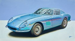 1966 Ferrari 275 GTB by Roz Wilson - Original Painting on Stretched Canvas sized 40x22 inches. Available from Whitewall Galleries